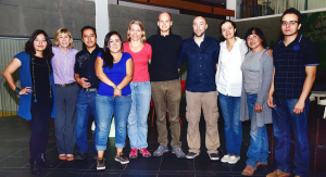 Diana López, Principal Research Assistant & Data Manager (first from left), Patti Petesch, Expert Advisor (second from left), Nadezda Amaya, Regional Gender Research Specialist (CIP-RTB); (fourth from left), and Lone Badstue, Strategic Leader, Gender Research (fifth from left) stand with prospective coders at the closure of the workshop. Photo: Jorge Mendez, CIMMYT.